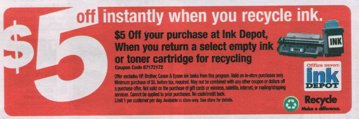 office depot get 5 for recycling ink cartridges. Black Bedroom Furniture Sets. Home Design Ideas