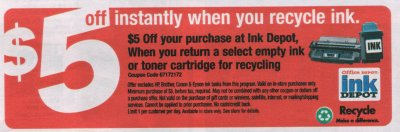 Office Depot $5 Ink Cartridge offer(T)