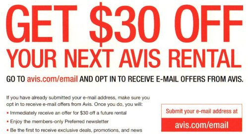 Avis $30 offer
