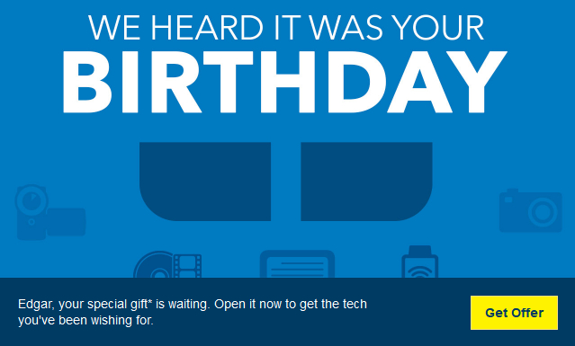 Best Buy birthday email