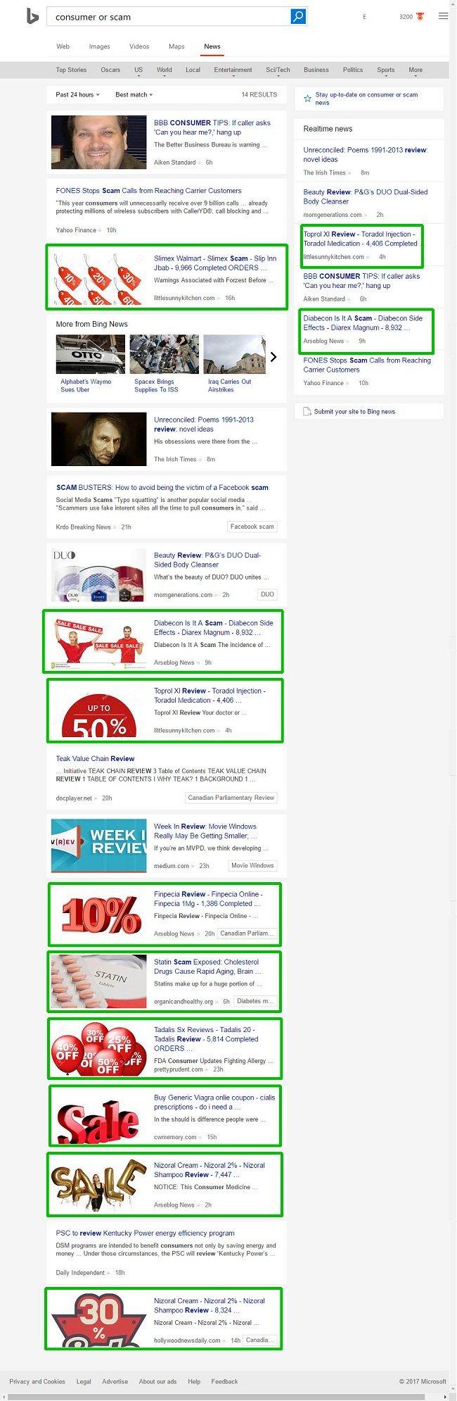 Bing news search