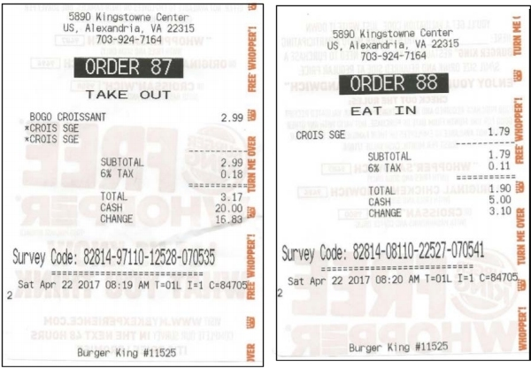 Burger KIng receipts