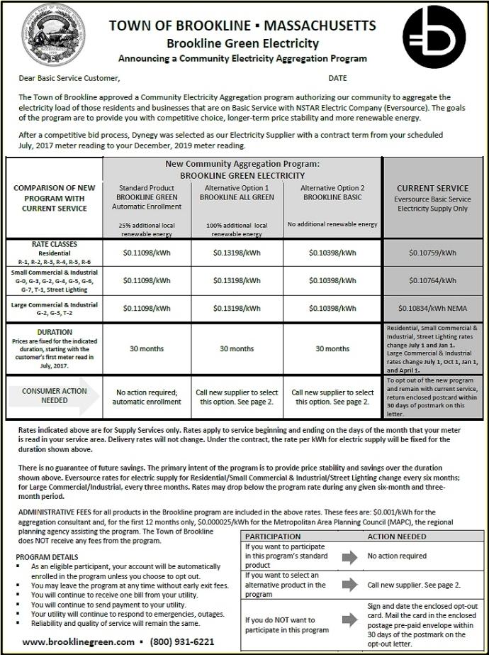 Brookline electricity letter