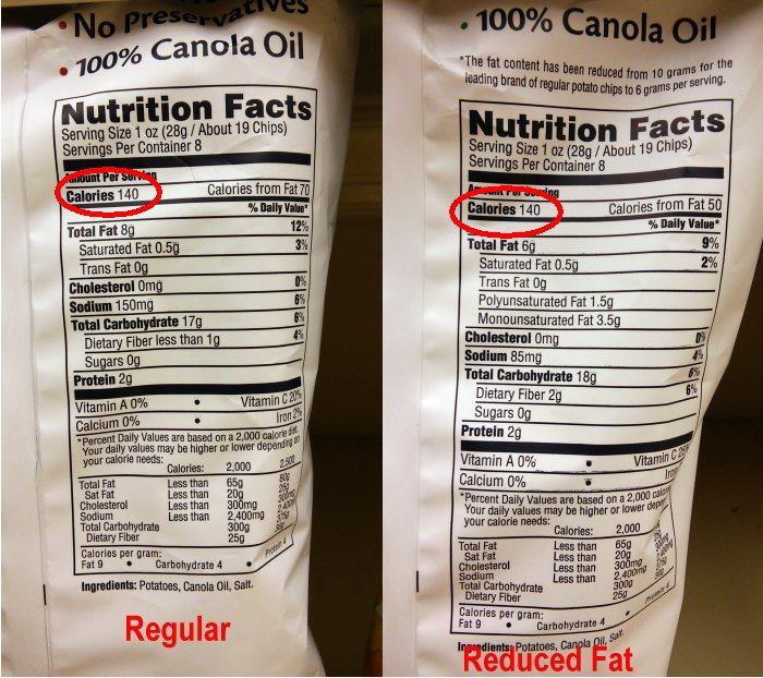 Cape Cod chips nutrition label
