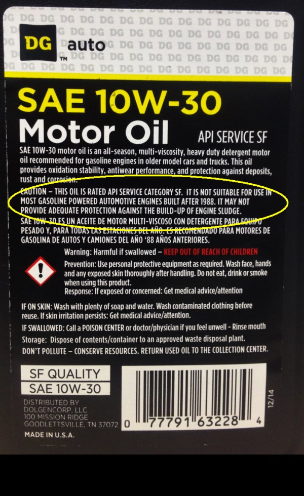 Dollar General Oil back of label
