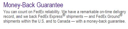 FEDEX guarantee