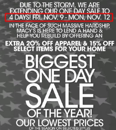 Macy&#039;s One Dale Sale