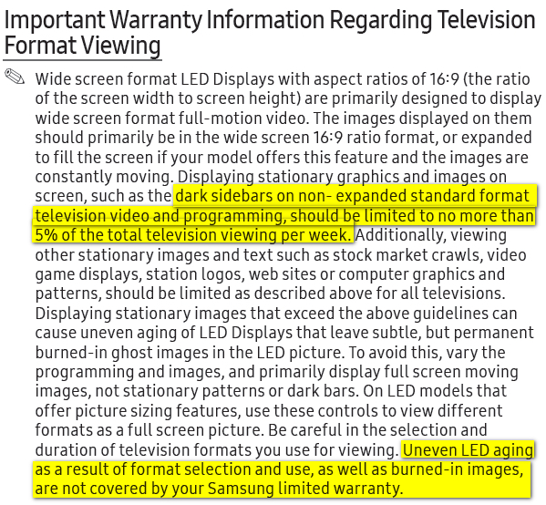 Samsung 5% warranty warning