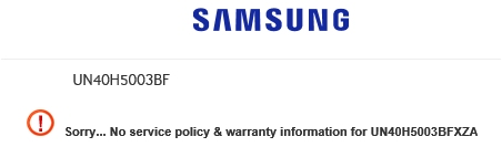 Samsung- no warranty info