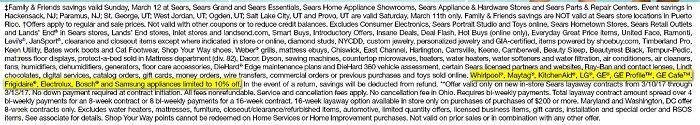 Sears disclaimer