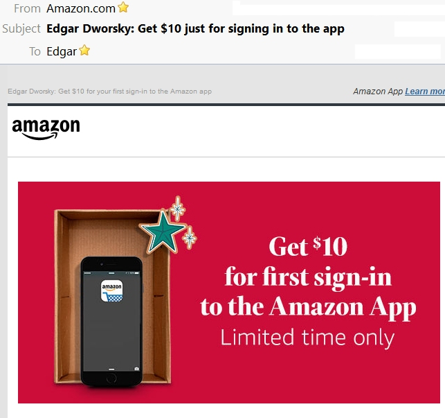 Amazon $10 off
