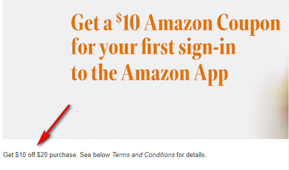 Amazon $10 offer detail