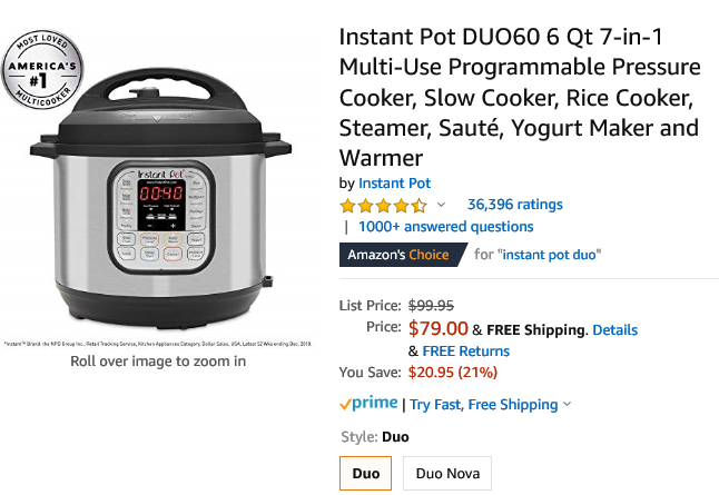 Amazon online Instant Pot