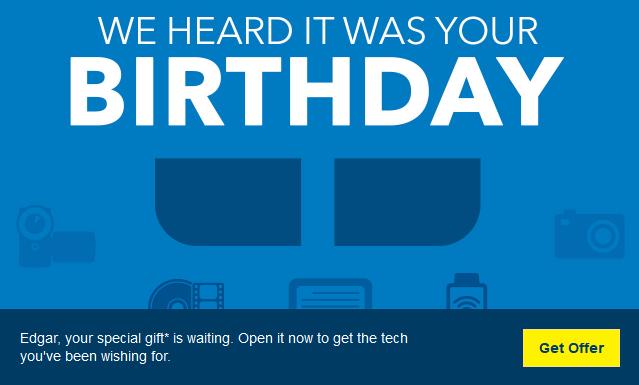 Best Buy birthday email