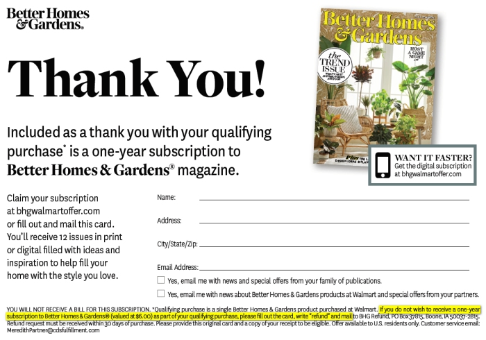 Better Homes and Gardens offer card