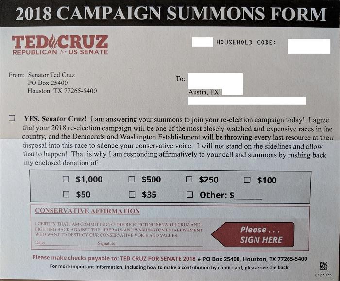 Cruz inside mailer