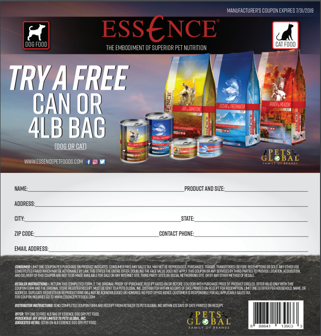 Essence pet food rebate