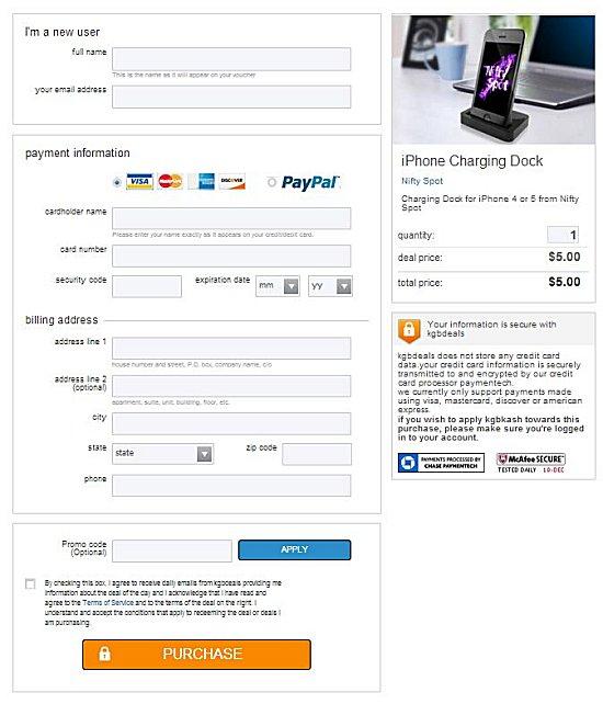$5 dock order form
