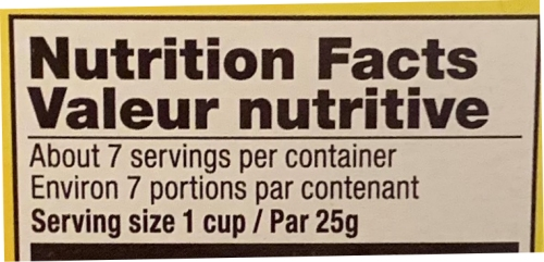 Gefen Nutrition Facts