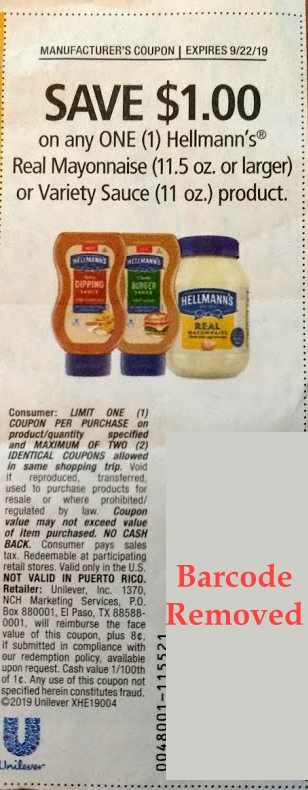 Hellmann's $1 coupon