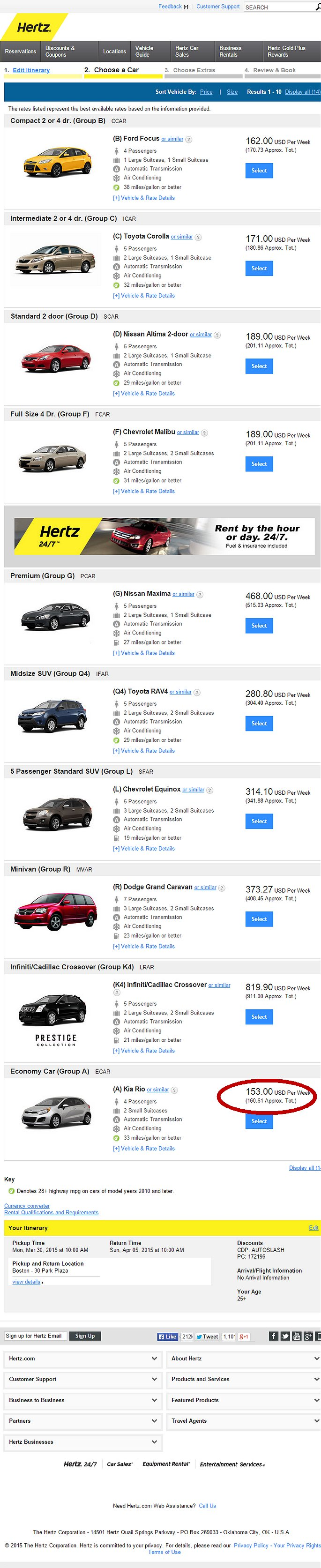Hertz Car Rental Vehicle Types