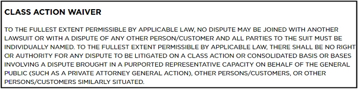 Kohl's class action waiver