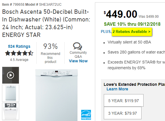 Bosch dishwasher listing