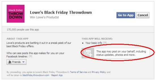 Lowe's Facebook app