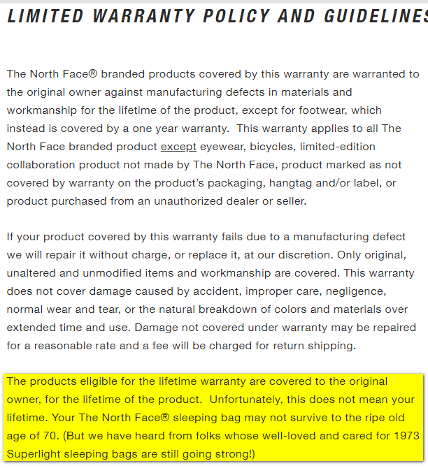North Face warranty