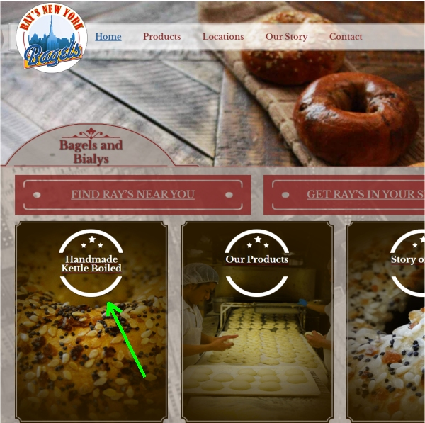 Ray's NY Bagels website