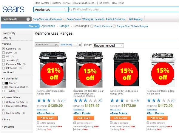 Sears 35% off Kenmore