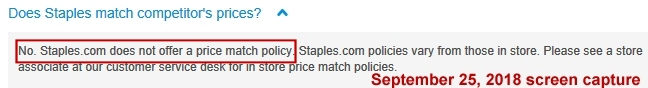 Staples NO match policy