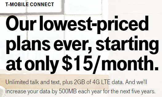 T-Mobile $15 a month plan