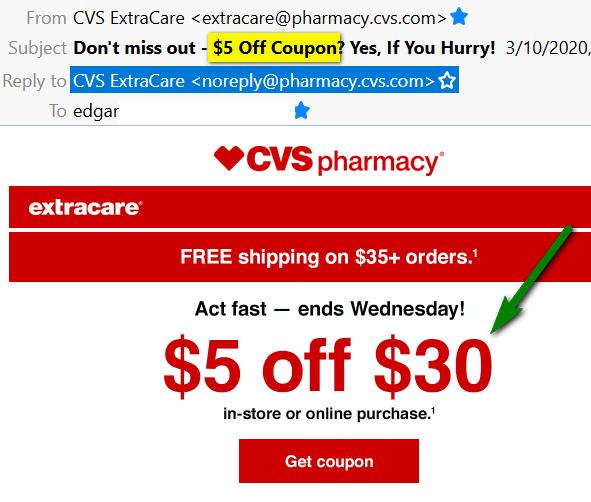 CVS $5 off