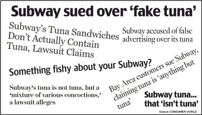 Subway Tuna Headlines