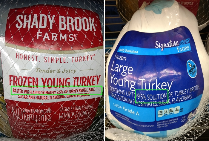 Turkeys injected with solution