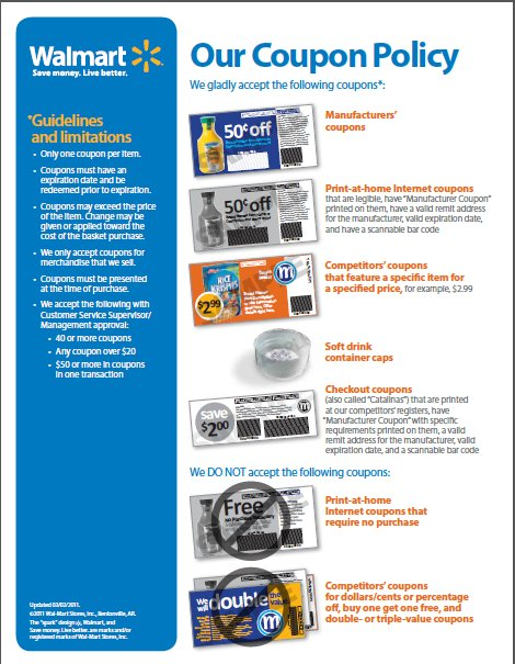 Wal Mart S Coupon Acceptance Policy The Fine Print