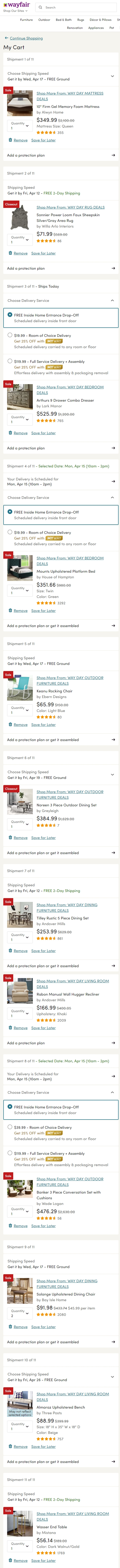 Wayfair Way Day cart