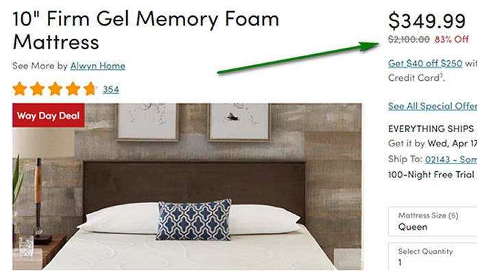 Wayfair memory foam mattress on Way Day
